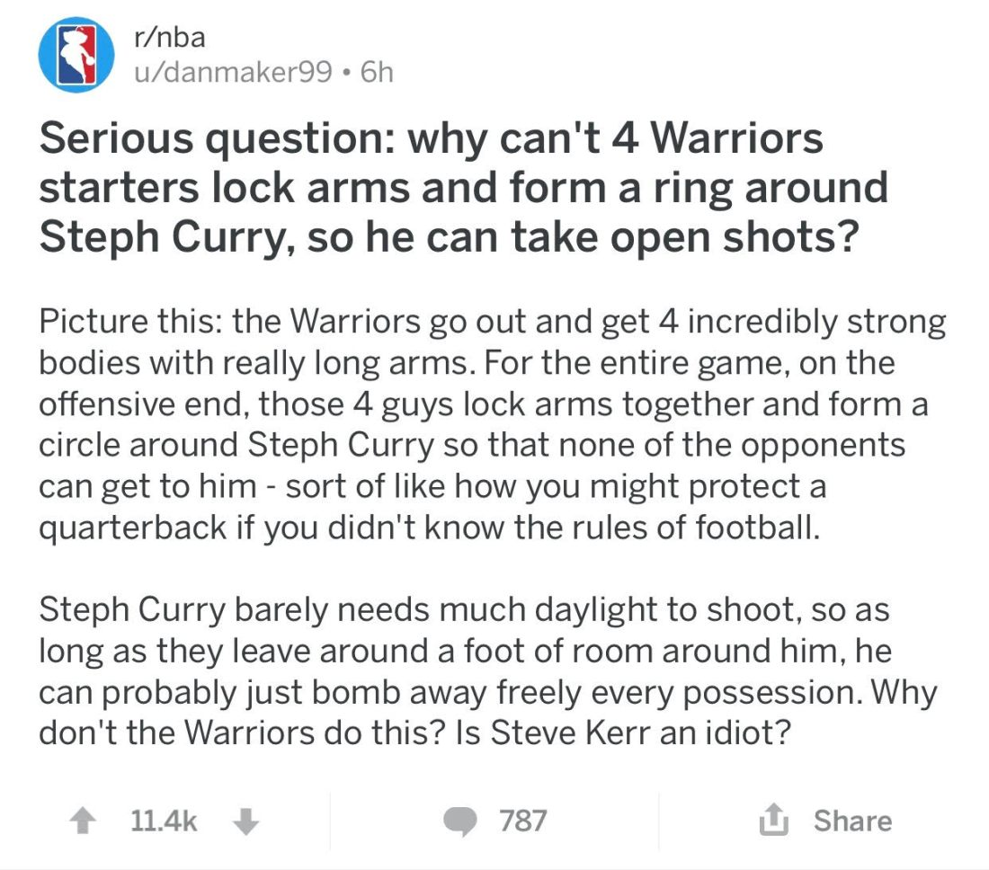 Curry Reddit Post